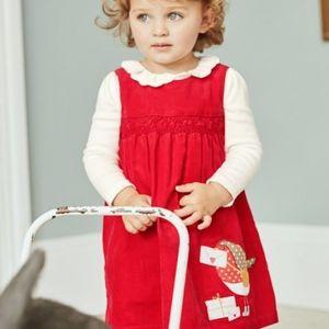 BabyBoden Baby Boden Robin cord pinafore dress